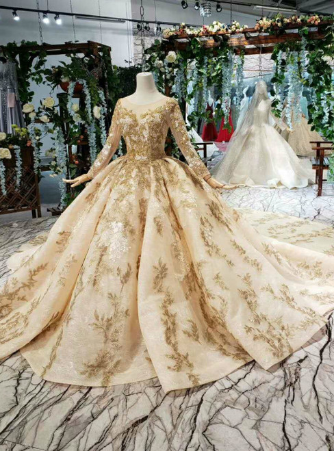 Champagne Ball Gown Tulle Lace Appliques Long Sleeve With Beading Luxury Wedding Dress