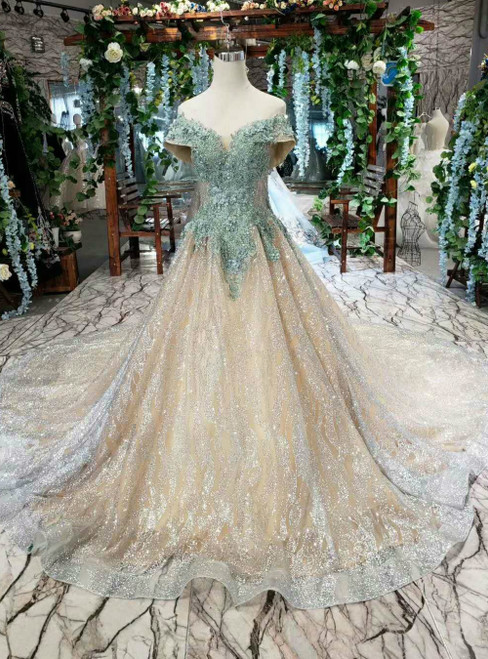 Gold And Green Ball Gown Tulle Sequins Off the Shoulder Appliques Luxury Wedding Dress