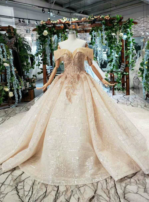 Tulle Sequins Off the Shoulder Champagne Ball Gown Luxury Wedding Dress