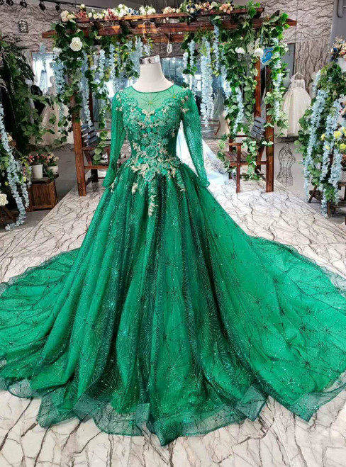 Green Ball Gown Tulle Sequins Long Sleeve Appliques Beading Luxury Wedding Dress