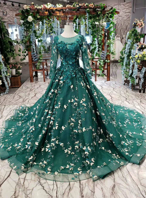 Dark Green Tulle Long Sleeve Appliques Luxury Wedding Dress With Pearls