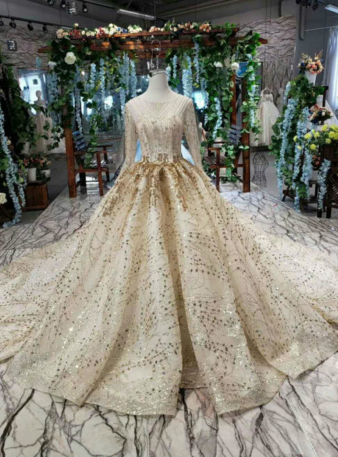 Champagne Tulle Sequins Long Sleeve Beading Luxury Wedding Dress