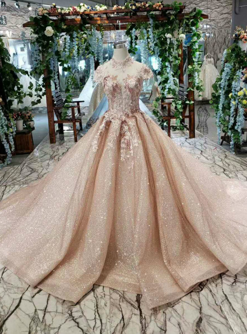 Champagne Pink Tulle Sequins Cap Sleeve Backless Luxury Wedding Dress With Appliques