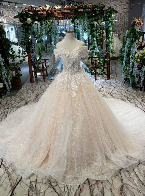 Champagne Tulle Sequins Appliques Off the Shoulder Luxury Wedding Dress