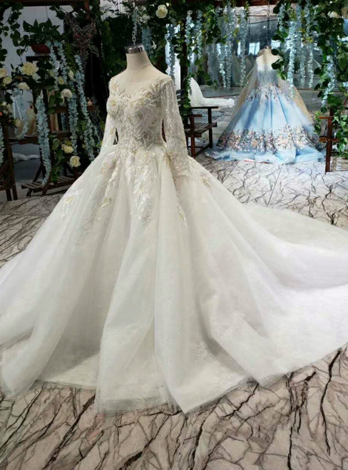 Ivory White Tulle Appliques Long Sleeve Wedding Dress With Beading