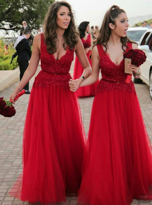 Lace Beading Tulle Bridesmaid Dresses Long Red Bridesmaid Dresses Sexy V Neckline Dresses