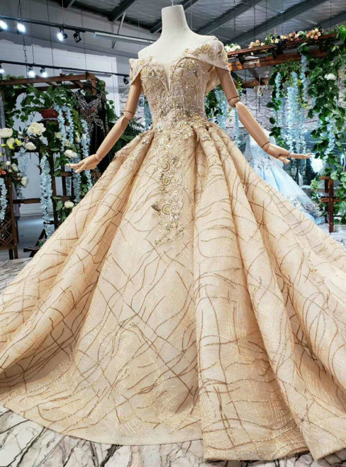 Dark Champagne Ball Gown Lace Sequins Off the Shoulder Luxury Wedding Dress