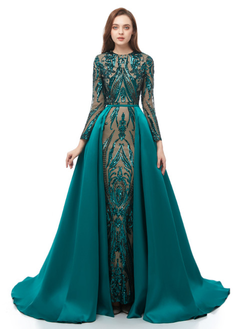 Green Mermaid Sequins Long Sleeve Long Prom Dress With Removable Train