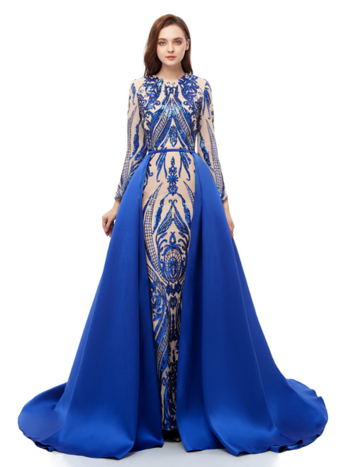 Blue Mermaid Sequins Long Sleeve Long Prom Dress With Removable Train