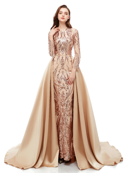 Champagne Mermaid Sequins Long Sleeve Long Prom Dress With Removable Train