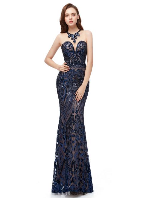 Navy Blue Mermaid Sequins Scoop Sleeveless Long Prom Dress