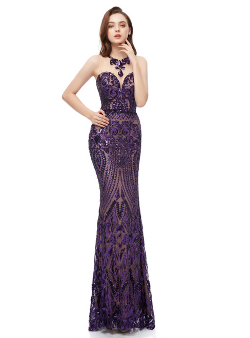 Purple Mermaid Sequins Scoop Sleeveless Long Prom Dress