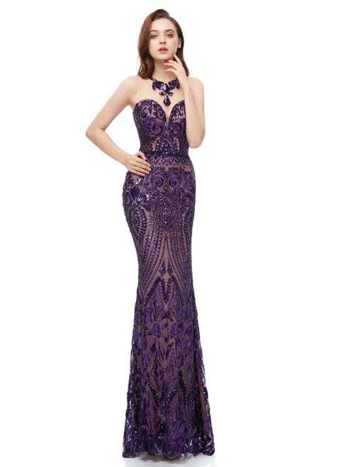Purple Mermaid Sequins Scoop Sleeveless Long Prom Dress
