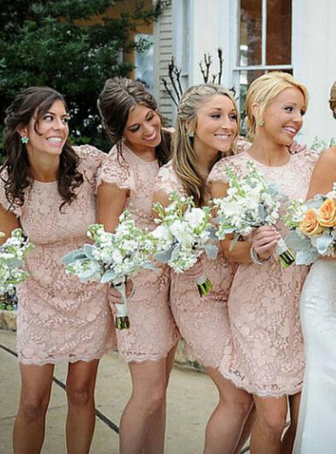 Pink Lace Cap Sleeves Bridesmaid Dresses Elegant Short Backless Party Dress