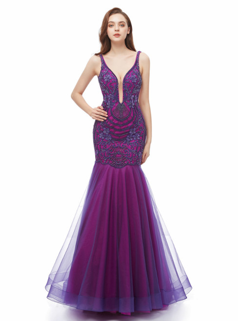 Purple Mermaid Tulle Backless Deep V-neck Appliques Prom Dress