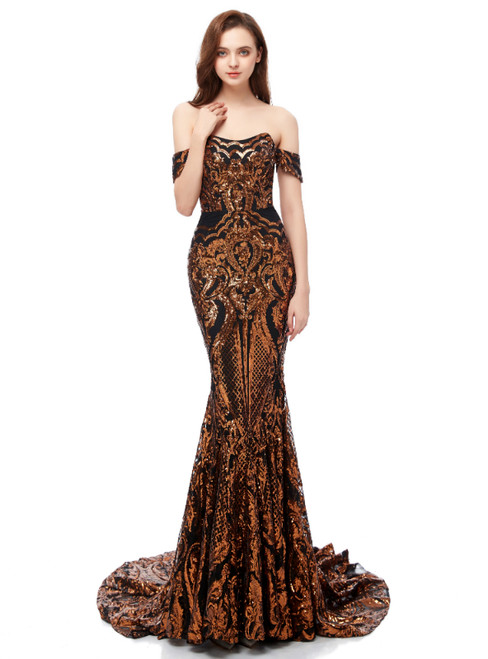 Yellow Gold Sequins Mermaid Sequins Off the Shoulder Prom Dress