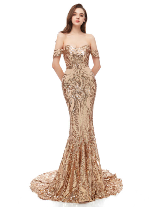 Gold Mermaid Sequins Off the Shoulder Long Prom Dress