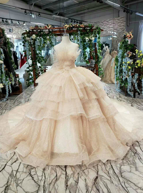 Champagne Ball Gown Sequins Strapless Luxury Wedding Dress With Long Train