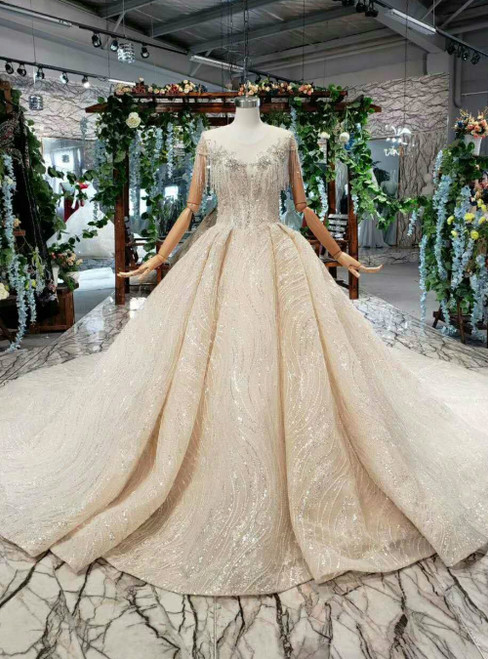 Champagne Tulle Sequins Lace Cap Sleeve Backless Luxury Wedding Dress With Beading