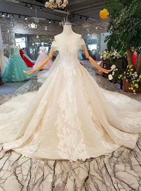 Champagne Tulle Sequins Lace Appliques Off the Shoulder Wedding Dress Luxury Wedding Dress