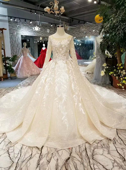 Champagne Tulle Appliques Long Sleeve Open Back Luxury Wedding Dress