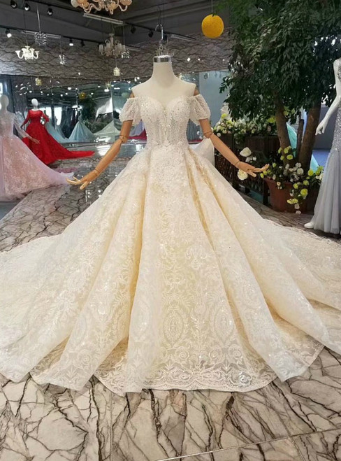 Champagne Ball Gown Tulle Sequins Off the Shoulder Puff Sleeve Luxury Wedding Dress