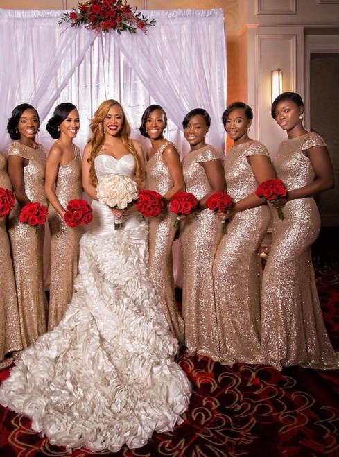 Gold Sequins Bridesmaid Dress Short Sleeve Bridesmaid Dress Glitter Bridesmaid Dress