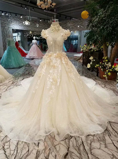 Champagne Tulle Sequins High Neck Backless Luxury Wedding Dress With Flower