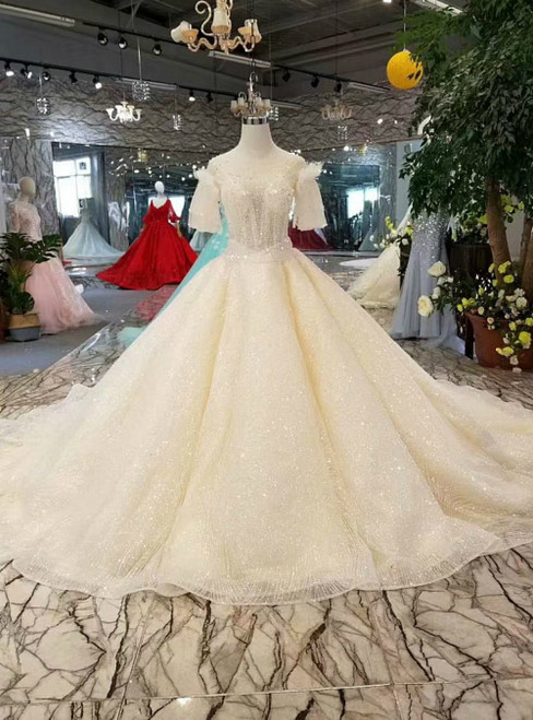 Champagne Tulle Sequins Backless Puff Sleeve Luxury Wedding Dress