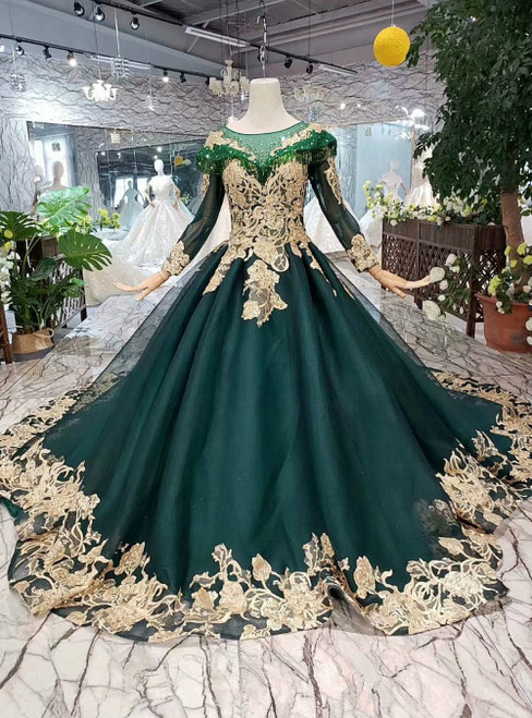 Dark Green Tulle Long Sleeve Gold Lace Appliques Beading Luxury Wedding Dress