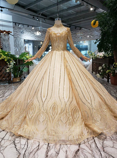 Champagne Gold Sequins High Neck Long Sleeve Luxury Wedding Dress With Beading
