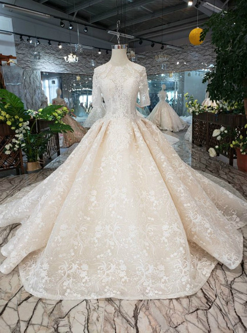 Champagne Tulle Lace Appliques Short Sleeve Luxury Wedding Dress With Beading