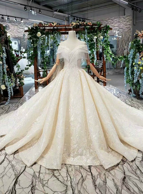Champagne Ball Gown Tulle Lace Appliques Luxury Wedding Dress With Beading