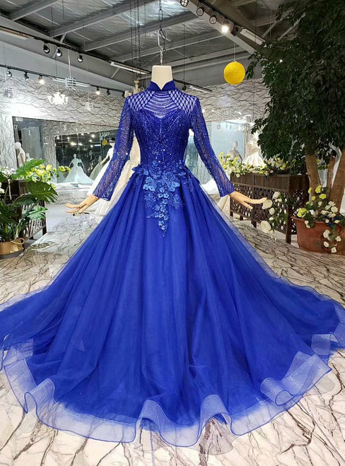 Royal Blue Tulle High neck Long Sleeve Appliques Luxury Wedding Dress With Beading