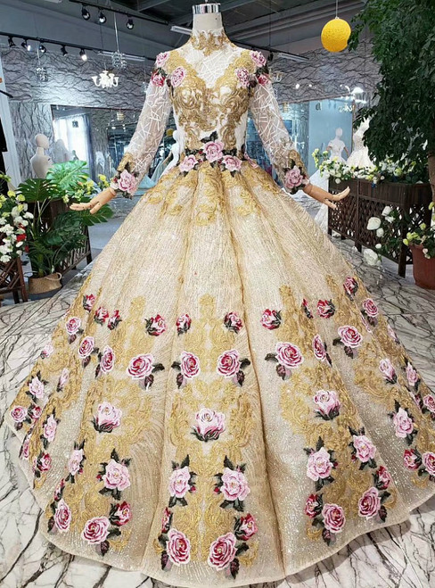 Champagne Gold Sequins High neck Embroidery Appliques Long Sleeve Luxury Wedding Dress