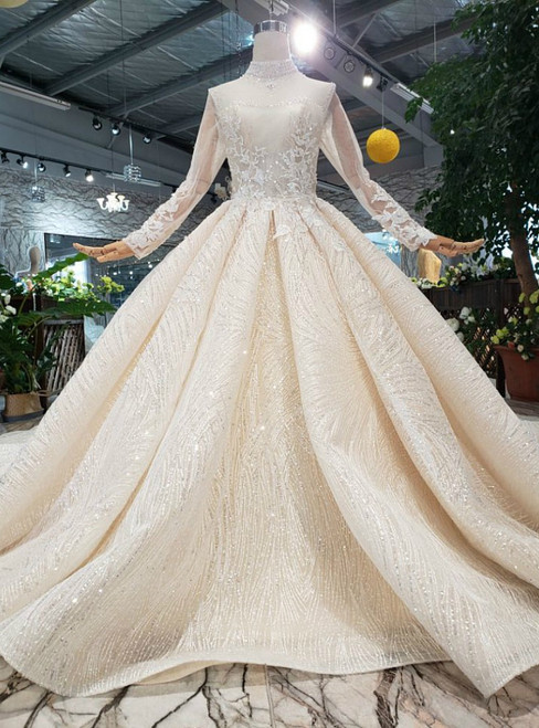 Champagne Tulle Sequins High Neck Long Sleeve Luxury Wedding Dress With Long Train