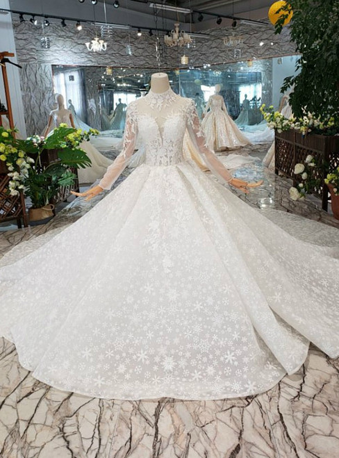 White Tulle Lace High Neck Long Sleeve Backless Luxury Wedding Dress