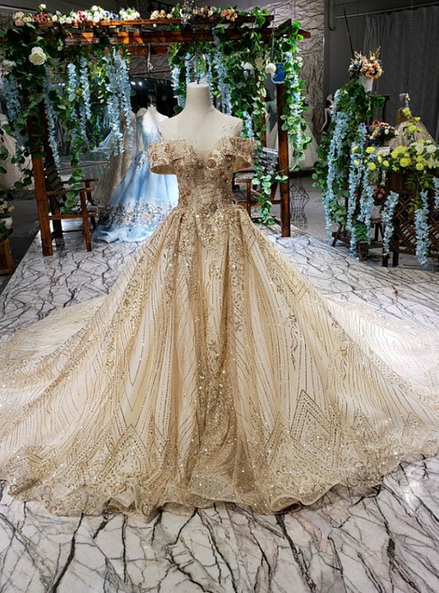 Gold Tulle Sequins off the Shoulder Luxury Wedding Dress With Beading