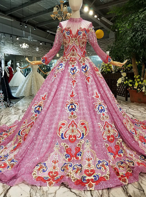 Pink Ball Gown Sequins High Neck Long Sleeve Embroidery Luxury Wedding Dress