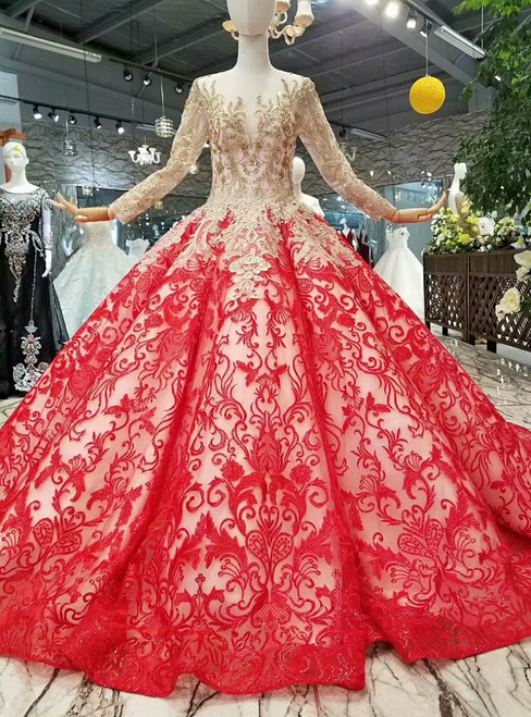 Red Ball Gown Lace Long Sleeve Luxury Wedding Dress With Beading