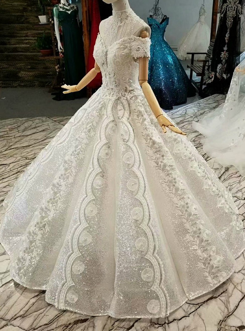 Silver White Sequins Appliques Off the Shoulder Appliques Luxury Wedding Dress