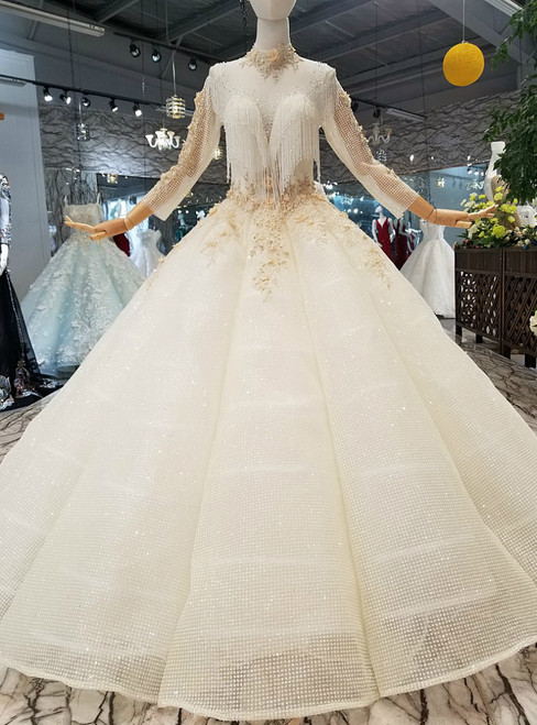 Champagne Ball Gown Sequins High Neck Long Sleeve With beading Luxury Wedding Dress
