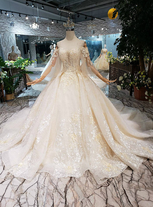 Champagne Ball Gown Sequins Off the Shoulder Appliques Luxury Wedding Dress With Removable Train