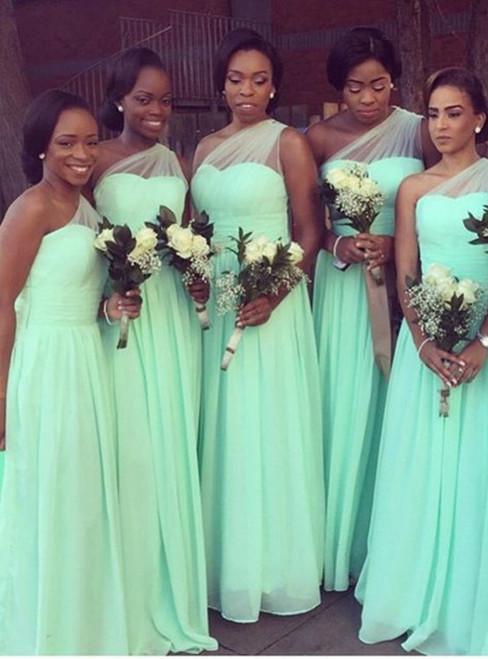 Cheap Green One Shoulder Chiffon Floor Length Bridesmaid Dress