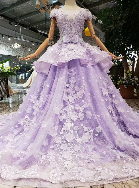 Purple Ball Gown Tulle Lace Appliques Cap Sleeve Luxury Wedding Dress With Beading