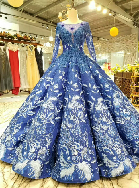 Blue Ball Gown Backless Appliques Long Sleeve Luxury Wedding Dress