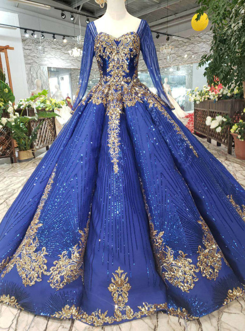 Royal Blue Ball Gown Sequins Sweetheart Long Sleeve Sequins Luxury Wedding Dress