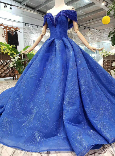 Royal Blue Sequins Off the Shoulder Beading Luxury Wedding Dress With Train