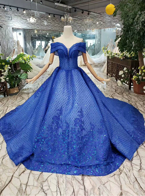 Royal Blue Tulle Sequins Off the Shoulder Appliques Wedding Dress With Train