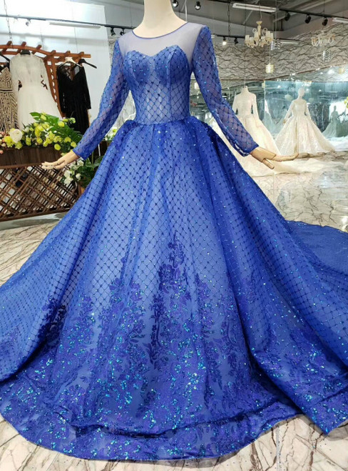 Royal Blue Long Sleeve Tulle Sequins Backless Luxury Wedding Dress